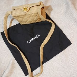 Vintage Chanel Quilted Raffia Camera Bag